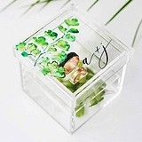 Personalized Acrylic Wedding Ring Box with Maidenhair Fern Printing