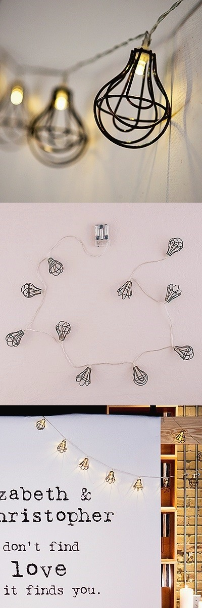 Battery-Powered LED String of Lights with Light Bulb Wire Cages