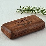Personalized Pocket-Sized Wooden Ring Box w/ Garland Motif Underneath