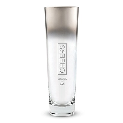 Contemporary Stemless Glass Silver Ombre Fade Flute w/ Cheers Etching