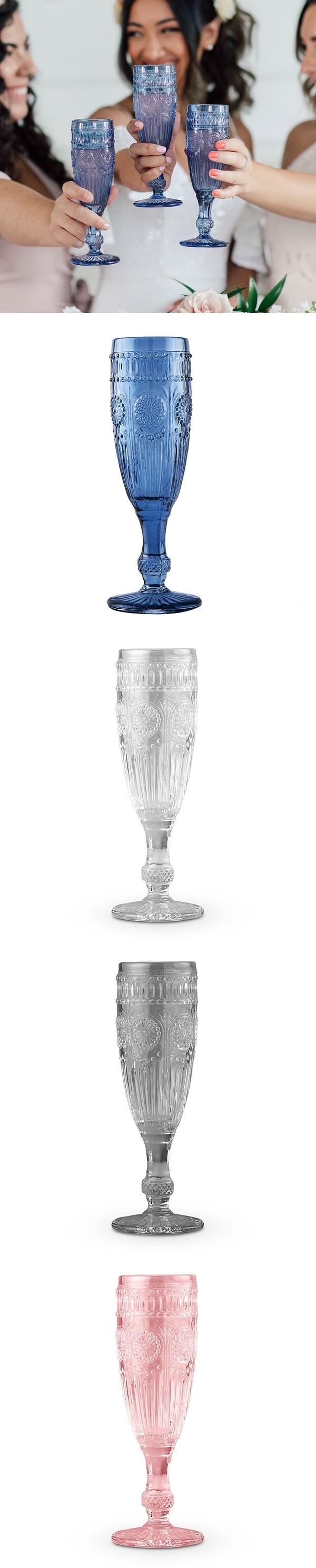 Weddingstar Vintage-Inspired Pressed Glass Flute (3 Colors)