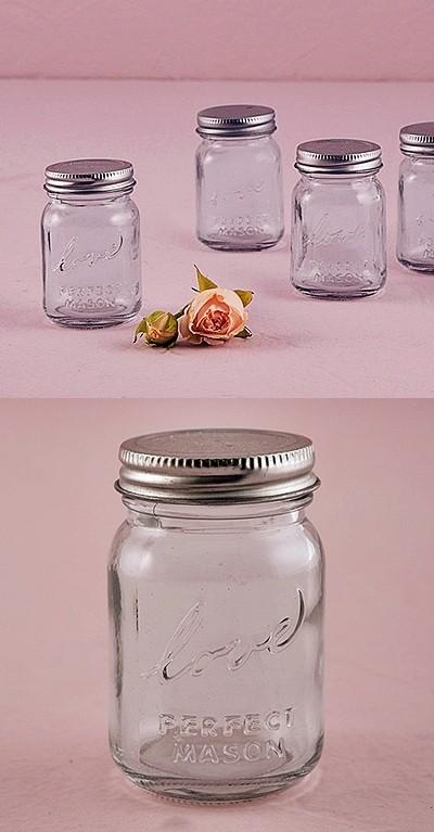 Vintage Inspired Raised Script Love Mini Mason Jars Set