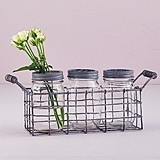 Weddingstar Vintage-Inspired Mason Jar Set in Wire Holder