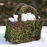Weddingstar Wicker and Faux Moss Flower Basket with Handles and Liner
