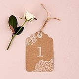 Large Kraft Tag w/ Vintage Lace White Print Table Numbers (Set of 12)