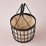 Weddingstar Rustic Chocolate Brown Wire Flower Basket w/ Fabric Liner