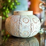 Small Antiqued Ornate White Metal Candle Holder with Glass Chimney