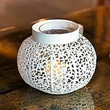 Antiqued White Metal Filigree Candle Holder with Glass Chimney