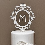 Weddingstar Classic Floating Monogram White Acrylic Cake Topper