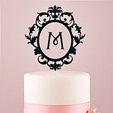 Weddingstar Beautiful Floating Monogram Black Acrylic Cake Topper