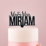 Weddingstar Personalized Mr. & Mrs. Black Acrylic Cake Topper