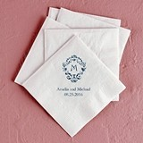 Classic Filigree Initial Foil-Printed Napkins (3 Sizes) (25 Colors)