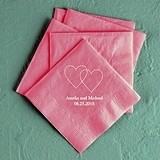 Linked Dashed Hearts Design Foil-Printed Napkins (4 Sizes) (25 Colors)