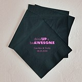 Drink Up & Be Awesome Design Foil-Printed Napkins (3 Sizes)(25 Colors)