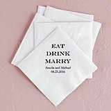 """Eat Drink Marry"" Foil-Printed Napkins (3 Sizes) (25 Colors)"