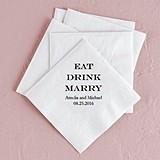 """Eat Drink Marry"" Foil-Printed Napkins (3 Sizes) (25 Colors)"