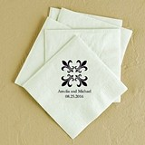 Fleur de Lis Design Foil-Printed Napkins (3 Sizes) (25 Colors)
