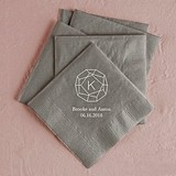 Gemstone Initial Design Foil-Printed Napkins (3 Sizes) (25 Colors)