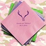 Love Antlers Design Foil-Printed Napkins (3 Sizes) (25 Colors)