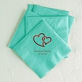 Linked Double Hearts Design Foil-Printed Napkins (3 Sizes) (25 Colors)