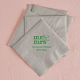 Modern Mr. & Mrs. Design Foil-Printed Napkins (3 Sizes) (25 Colors)