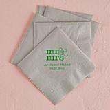 Modern Mr. & Mrs. Design Foil-Printed Napkins (3 Sizes) (25 Colors)