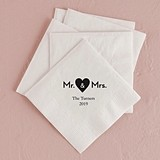 Mr. & Mrs. Heart Design Foil-Printed Napkins (3 Sizes) (25 Colors)