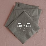Mr & Mr Double Bowtie Design Foil-Printed Napkins (3 Sizes)(25 Colors)