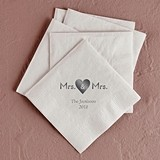 Mrs. & Mrs. Heart Design Foil-Printed Napkins (3 Sizes) (25 Colors)