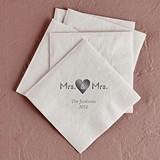 Mrs. & Mrs. Heart Design Foil-Printed Napkins (4 Sizes) (25 Colors)
