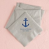 Personalized Anchor Design Foil-Printed Napkins (3 Sizes) (25 Colors)