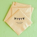 Personalized Pennants Design Foil-Printed Napkins (3 Sizes)(25 Colors)
