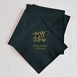Script Party Time Design Foil-Printed Napkins (3 Sizes) (25 Colors)