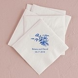 Vintage Floral Design Foil-Printed Napkins (3 Sizes) (25 Colors)
