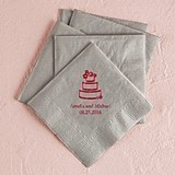 Stylized Wedding Cake Motif Foil-Printed Napkins (3 Sizes) (25 Colors)