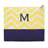Weddingstar Gold Chevron Pattern Color-Block Cosmetic Bag with Initial
