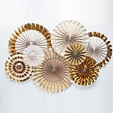 Weddingstar Gold Foil Paper Fan Party Decorations (Set of 8)