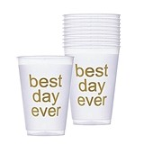 Weddingstar Best Day Ever Shatterproof Frosted Plastic Cup (Set of 10)