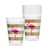 Weddingstar Pink Flamingo Gold-Stripe Frosted Plastic Cups (Set of 10)