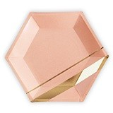 Weddingstar Large Gold & Blush Hexagon Party Plates (Set of 8)