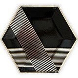 Black & Metallic Gold Hexagonal Party Plates - Large (Set of 8)