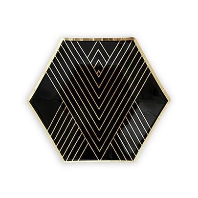 Metallic Gold on Black Hexagonal Party Plates - Small (Set of 8)