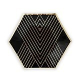 Metallic Gold on Black Hexagonal Party Plates - Small (Set of 8)