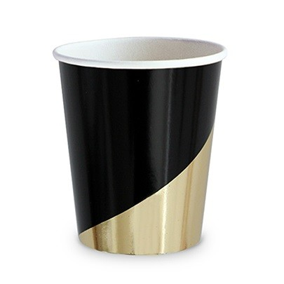 Weddingstar Contemporary Black & Metallic Gold Party Cups (Set of 8)
