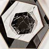 Metallic Gold on Black Marble Hexagon Party Plates - Mini (Set of 8)