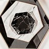 Metallic Gold on Black Marble Hexagon Party Plates - Mini (Set of 8)