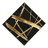 Weddingstar Bold Gold Strokes on Black Cocktail Napkins (Set of 20)