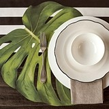 Tropical Monstera Palm Leaf Die-Cut Paper Placemat Sheets (Set of 12)
