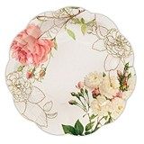 Weddingstar Pink Rose Floral Print Paper Plates (Set of 12)
