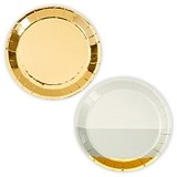 Mini Gold Foil and Two-Tone Grey Appetizer Party Plates (Set of 8)